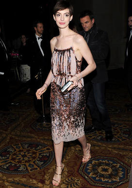 Actress Anne Hathaway attends the Museum of the Moving Image Salute to Hugh Jackman at Cipriani Wall Street on Tuesday Dec. 11, 2012 in New York.