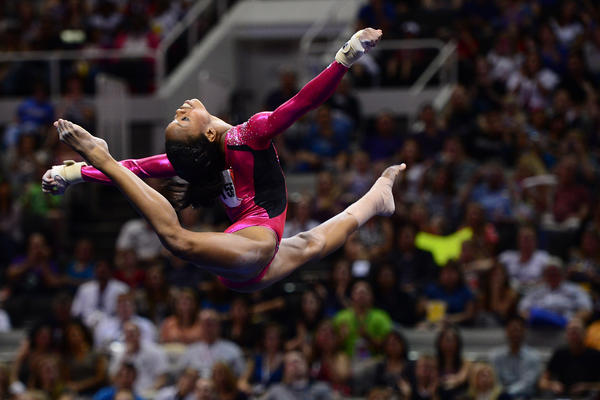 Gabby Douglas performs on the floor exercise during the 2012 USA Gymnastics Olympic Team Trials at HP Pavilion.