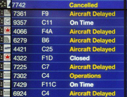 A storm has delayed thousands of flights and canceled hundreds more.