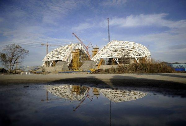 A view of the construction site of Olympic Stadium in Sochi, Russia.