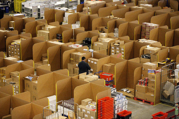 An Amazon.com fulfillment center, where orders are prepared for shipping, in Ridgmont, England.