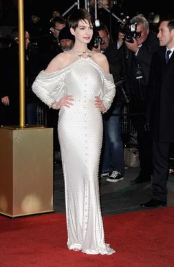 "Anne Hathaway in Givenchy couture at the ""Les Miserables"" premiere at the Odeon Leicester Square in London."