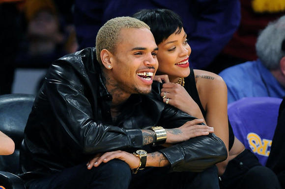 Rihanna and Chris Brown at the Lakers