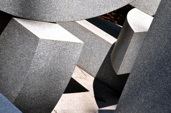 "The winner for this week's SunShots series ""Geometric"" is Laurence Goldberg for his picture from the Baltimore Museum of Art sculpture garden. Laurence shot this image with a Nikon D90 DSLR camera.  Here is a critique by director of photography, Robert Hamilton: ""I like how the photographer took what was already an interesting and eye-grabbing piece of art and added his own interpretation to it. Rather than just documenting what was there, he made it his own."""