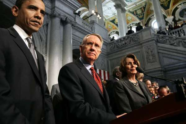 President Obama with Senate Majority Leader Harry Reid and House Minority Leader Nancy Pelosi.