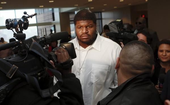 Cowboys' Josh Brent outside of court.
