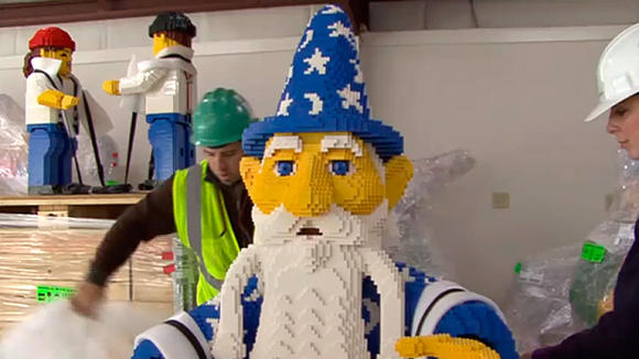 Crews upwrap Lego models arriving at Legoland Florida.
