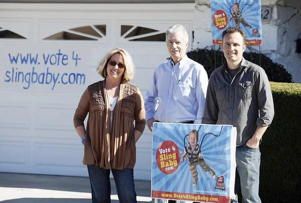 Kevin Willson and his parents Connie and Tom Willson outside their home in Huntington Beach on Friday. Kevin made a Doritos commercial for an annual Super Bowl contest.
