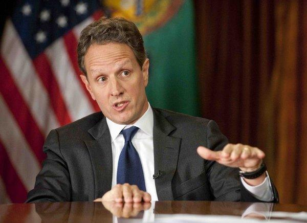 "Treasury Secretary Timothy F. Geithner discussing the fiscal cliff on CBS's ""Face the Nation."""