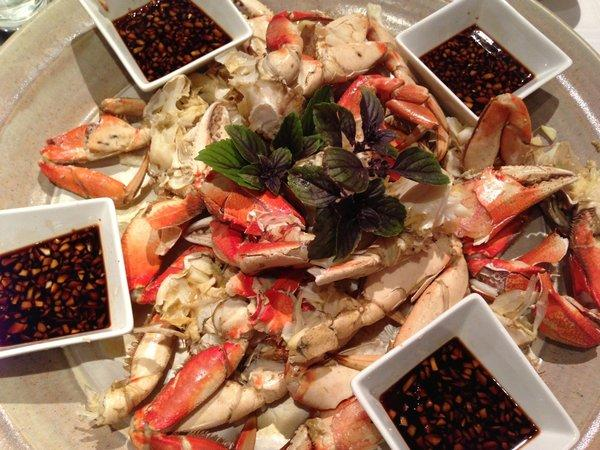 For a leisurely Christmas eve, steamed Dungeness crab with a dipping sauce of black vinegar and young ginger.