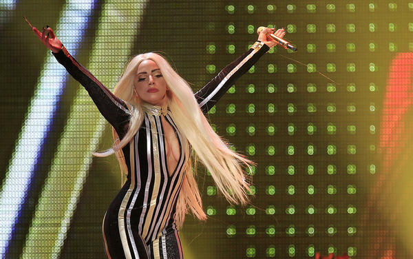 "Lady Gaga performs onstage during the Rolling Stones final concert of their ""50 and Counting Tour"" in Newark."