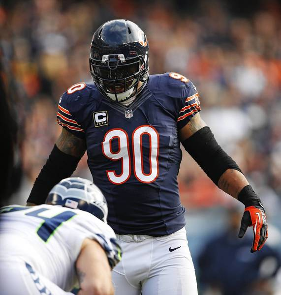 Chicago Bears defensive end Julius Peppers lines up in the second quarter against the Seattle Seahawks offense at Soldier Field in Chicago on Sunday, Dec. 2, 2012.