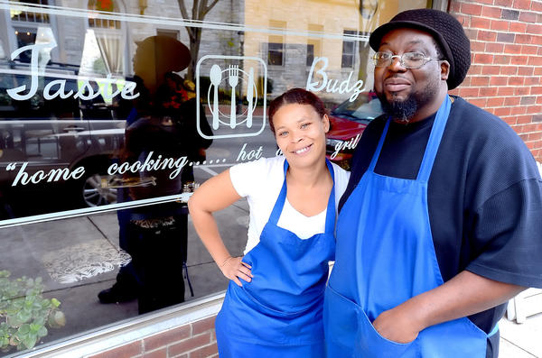 Brenda Franklin, left, and her fiance Perry White have opened Taste Budz in the old Laila's Kitchen location at 4 E. Franklin St. in downtown Hagerstown.