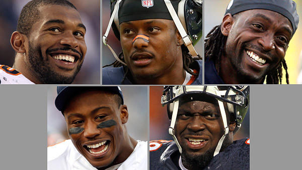 Chicago Bears selected for the Pro Bowl are, clockwise from top-left, Julius Peppers, Tim Jennings, Charles Tillman, Brandon Marshall and Henry Melton.
