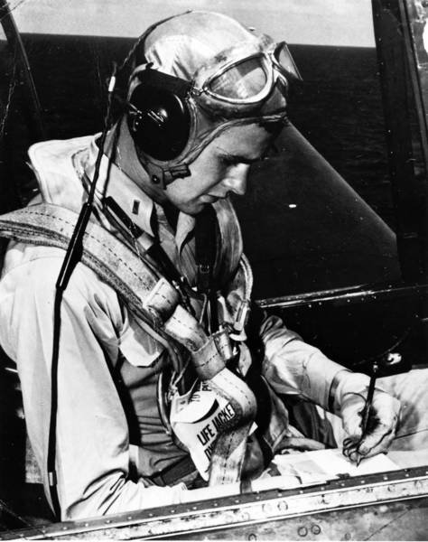 George H.W. Bush served as an aviator in the U.S. Navy during WW II. His plane was shot down during action in the South Pacific, and he was awarded the distinguished flying cross.