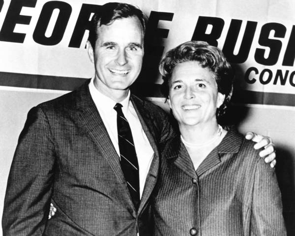 George H.W. Bush poses with his wife Barbara during his campaign for Congress in the 1960's. Has elected to Congress and served as a representative from Texas from 1966 to 1970.