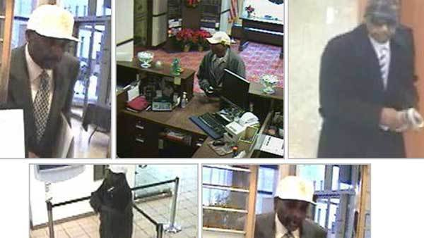 Photos of a man suspected in five Chicago bank robberies and an attempted bank robbery.