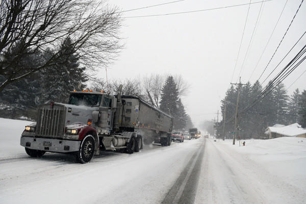 This tractor trailer could not quite make it to the top of a snowy West Main Street early in Wednesday's storm. Traffic in its lane was delayed for a substantial period of time. Similar incidents were experienced throughout Somerset County as travelers made their way to and from work.