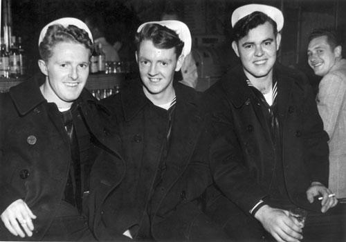 John B. Dorsey (far left) of Bangor shown with Navy buddies during World War II. 'A monster typhoon blew in. It tossed those little destroyers around like they were tin cans,' says Dorsey, who served on the battleship USS New Jersey in the Pacific.