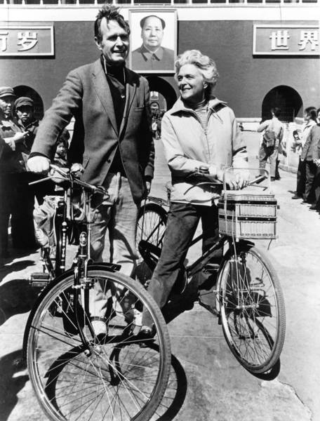 George H.W. Bush poses with his wife Barbara in Beijing in 1974.