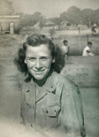 Florence B. Michaels shown as a 2nd Lieutenant in the Army Air Corps in Ledo, India in 1943 or 1944.