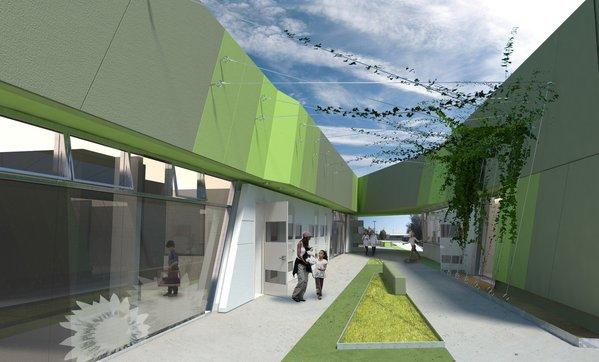 """A rendering of the new South L.A. animal shelter shows design concepts borrowed from the world of retail in hopes of """"selling"""" more of its products: orphaned animals. It also incorporates new creature comforts, including heated floors and retractable awnings."""
