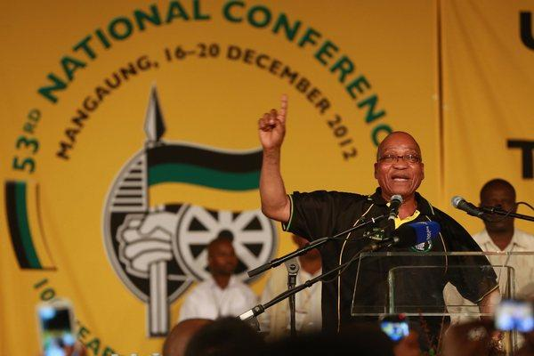 South African President Jacob Zuma celebrates on Dec. 18 after he was reelected for a second term by the African National Congress.
