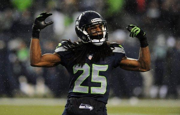 Seattle Seahawks cornerback Richard Sherman works the crowd in Sunday's game against San Francisco.