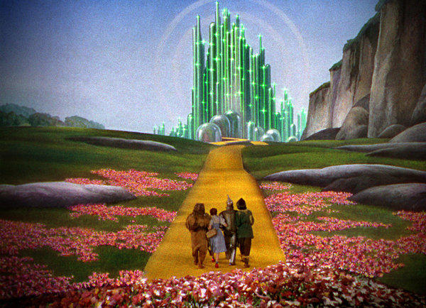 "The yellow-brick road leads to the Emerald City in the 1i939 film ""The Wizard of Oz."""