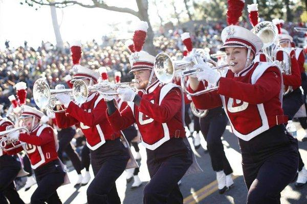 Members of the Wisconsin marching band step off during last year's parade.