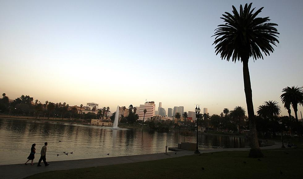 Wilshire Boulevard runs between the two halves of MacArthur Park. Originally named Westlake Park, the site was built in the 1880s around wetlands fed by natural springs. (Luis Sinco / Los Angeles Times)