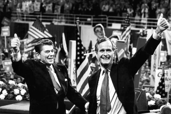 In July 1980, the Republican National Convention convened at Joe Louis Arena in Detroit, Michigan. Former Gov. Ronald Reagan of California was nominated for president and former congressman George H.W. Bush of Texas for vice president.