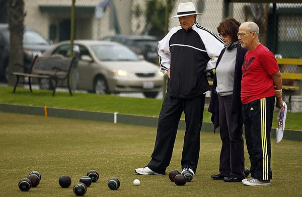 Lawn bowling is a popular activity at Santa Monica's Douglas Park, located along Wilshire Boulevard. This stretch of the roadway is the only one to have ever carried streetcars in the 1800s before its developers pushed to ban the system.