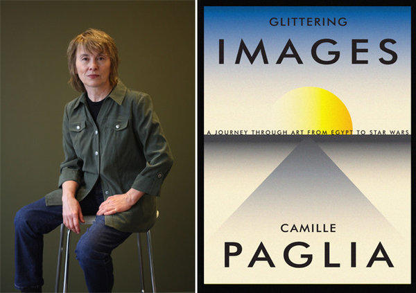 Author Camille Paglia and the cover of her book, 'Glittering Images: A Journey Through Art From Egypt to Star Wars.'