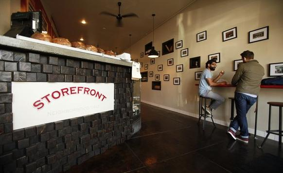 There's not a lot of places to sit at Storefront Deli, and your order at the counter comes in a white paper bag whether it's for dining in or takeout.