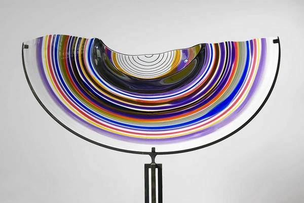 Lino Tagliapietra, Half Saturno, 2000, blown glass on iron stand, 62 ½ x 28 x 16 in. (with stand), 12 x 6 x 16 ½ in. (glass only), collection of Stephen H. Goldman