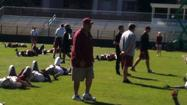 DAVIE -- Salvatore Sunseri, the man taking over the coaching of Florida State's defensive ends and better known as Sal, has officially stepped foot on an FSU practice field as a Seminoles assistant. After signing with the program late last week, he joined his new team as it went through a light workout in South Florida ahead of next week's Orange Bowl.