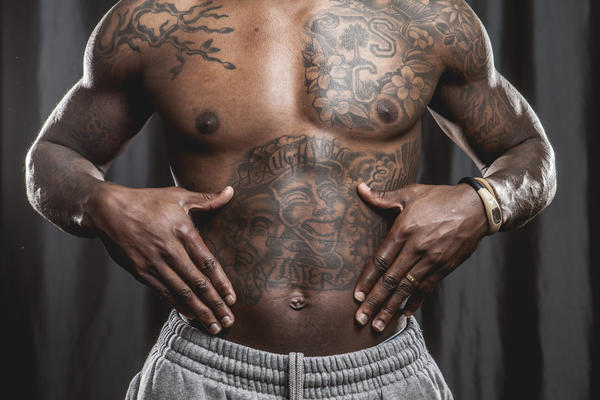 Bears cornerback D.J. Moore and his tattoos.