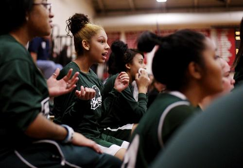 Cheney Tech's Jaileen Arroyo reacts to a play in the fourth quarter of Thursday's game at Somers High School.
