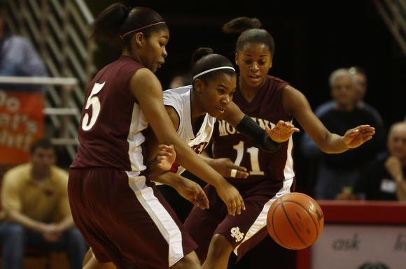 Nikia Edom (5), shown here with Montini during its run to the 2011 Class 3A state title, transferred to Plainfield East this season.