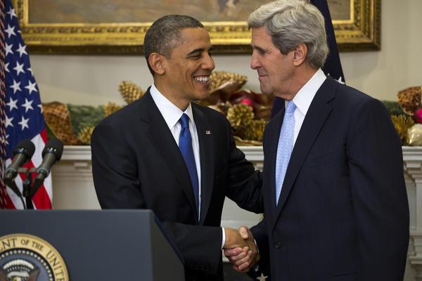 President Obama, left, nominates Sen. John Kerry (D-Mass.) to be the next Secretary of State in the Roosevelt Room of the White House in Washington, D.C. If confirmed, Kerry will replace retiring Secretary of State Hillary Clinton early in 2013.