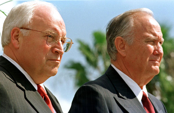 Republican vice presidential candidate Dick Cheney, left, stands next to retired Gen. Norman Schwarzkopf during a GOP rally on Nov. 1, 2000, in Port St. Lucie, Fla.