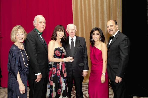 Terry and Bob Callahan, Sandi and Ron Simon and Lisa and Vahé Karamardian, all major chairs and donors supporting Hoag's Christmas Carol Ball.