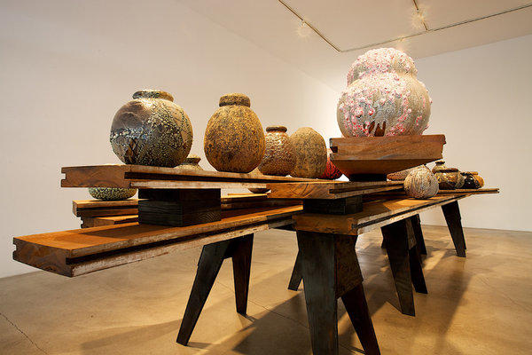 Adam Silverman's installation of pots at Edward Cella.