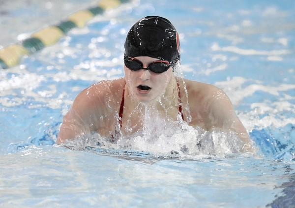 Parkland's Megan Polaha places first in the girls 200 yard IM during a February meet against Emmaus. She earned praise this week from Emmaus coach Tim O'Connor after she helped the Trojans girls team to another victory over the Hornets.