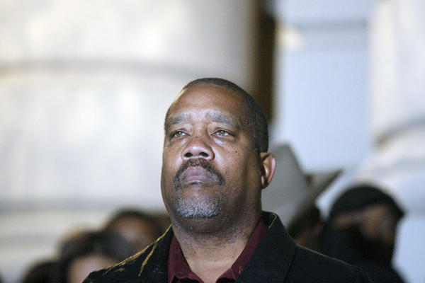 Jacques Bolton attends a vigil for Los Angeles County Sheriff's Department technician Victor McClinton, which took place at the Pasadena City Hall on Thursday, December 27, 2012.