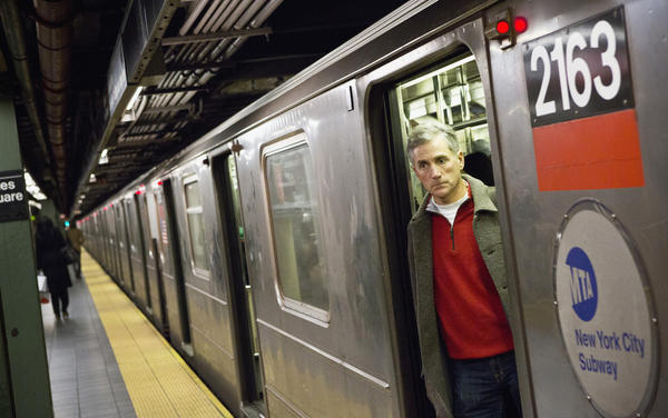 A man uses the subway system in New York.