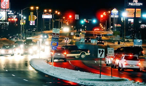Traffic flows freely along Massey Boulevard in Hagerstown on Thursday evening, a day after a winter ice and snow storm resulted in more than 100 reports of traffic accidents in Washington County.