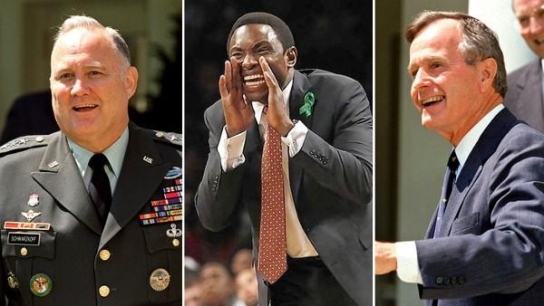 Norman Schwarzkopf, Avery Johnson and George H.W. Bush