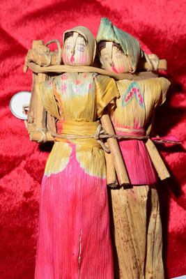 These are corn husk dolls from the United States at the Allentown Public Library. Some of the 400 dolls from around the world from the collections of Harriet Backenstoe and Dorothy Knauss are on display at the Allentown Public Library.